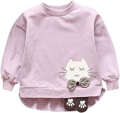 Niña Jersey de Algodón Casual Linda Camisa Fina con Puño de Gato Cuello Redondo Pullover Manga Larga Traje de Niña de Primavera Brillante 6 Meses a 3 Años Bebé Disfraz: Amazon.es: Ropa