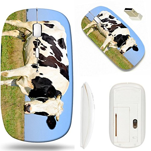 MSD Wireless Mouse White Base Travel 2.4G Wireless Mice with USB Receiver, Noiseless and Silent Click with 1000 DPI for notebook, pc, laptop, computer, mac book design: 34984350 Cow on a summer pastur