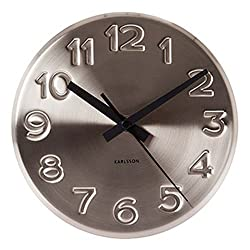 Present Time Karlsson Bold Engraved Numbers Wall Clock, Steel