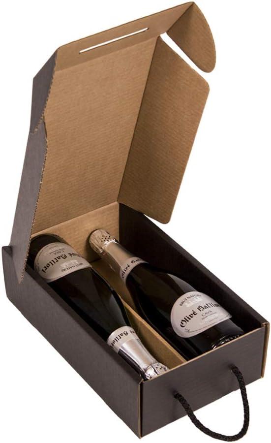 Kartox   Estuche para 2 botellas   Caja de cartón para cava o champagne   Caja de color negro mate   4 Unidades: Amazon.es: Oficina y papelería