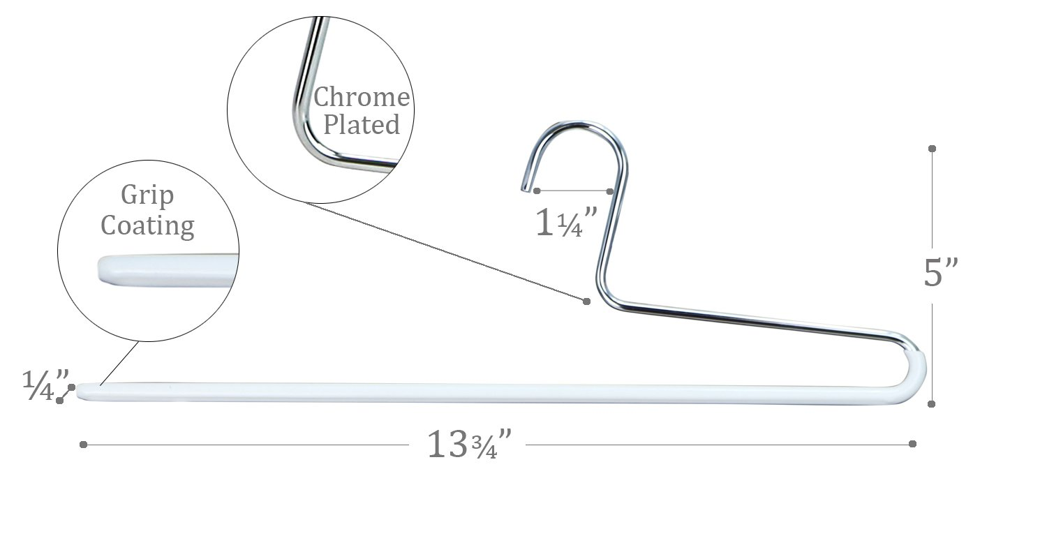 Black Set of 10 Style KH//1 Mawa by Reston Lloyd Trouser Series Non-Slip Space-Saving Clothes Hanger with Single Rod for Pants
