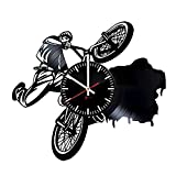 "BMX Bikes HANDMADE Vinyl Record Wall Clock – Get unique garage wall decor – Gift ideas for boys and girls, brother, men ??"" Sport Bicycle Unique Art Design For Sale"