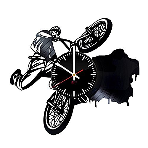 """BMX Bikes HANDMADE Vinyl Record Wall Clock – Get unique garage wall decor – Gift ideas for boys and girls, brother, men ??"""" Sport Bicycle Unique Art Design For Sale"""
