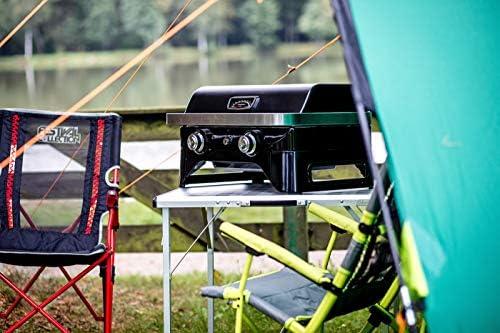 Campingaz Attitude 2100 LX Barbecue gaz de table, transportable, 2 brûleurs acier, puissance 5kW, barbecue gaz de camping avec grille maintien au chaud, thermomètre, grille de cuisson fonte et plancha