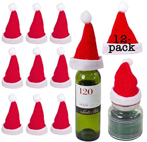 Small Santa Hats (Iconikal Mini Felt Santa Hats, 12)