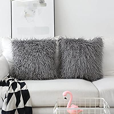 HOME BRILLIANT Deluxe Supersoft Fluffy Faux Fur Sheepskin Decorative Throw Pillow Case Cushion Covers