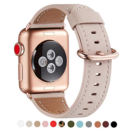 WFEAGL Compatible iWatch Band 44mm 42mm, Top Grain Leather Band with Gold Adapter (The Same as Series 4/3 with Gold Aluminum Case in Color) for iWatch Series 4/3/2/1 (Pink Sand Band+Rosegold Adapter)