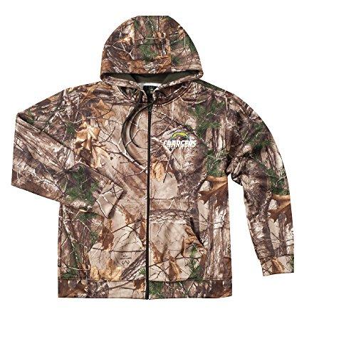(NFL San Diego Chargers Camo Trophy Xtra Tech Fleece Full Zip hoodie, 3X)
