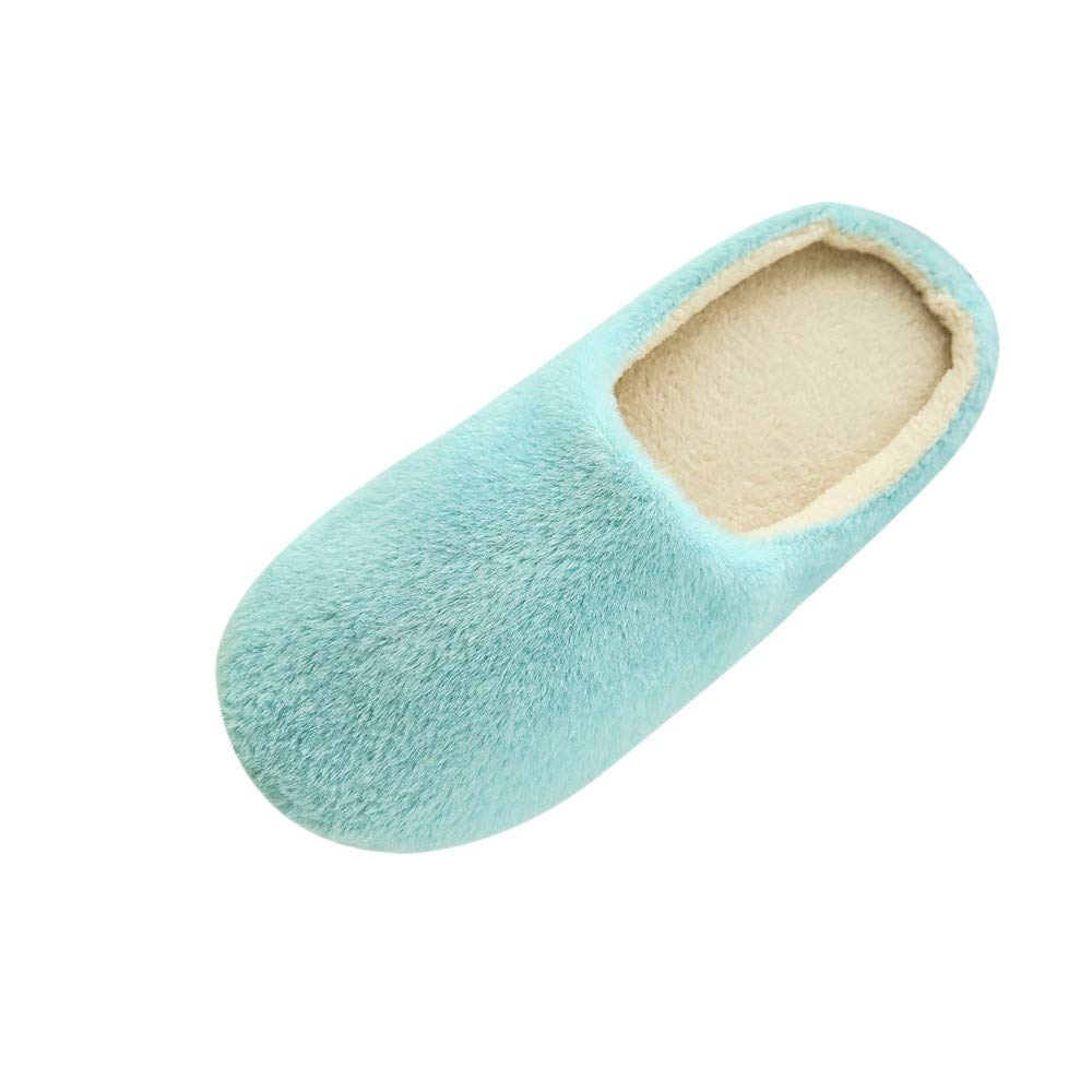 Women Plush Foam Slippers Men Slip-on House Shoes Indoor Outdoor Anti-Skid Pressure Relief Comfortable & Washable (Blue-Women, US 6-6.5)