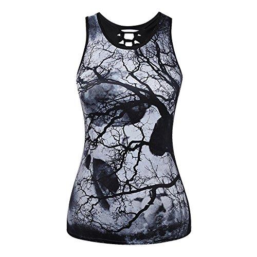 Tshirt 7 Skulls Mxssi Summer tree Tee Punk Rock Top Casual Vest Casual Summer Stampato Donna wOqxOXa7