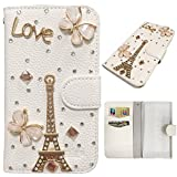 Bookstyle Wallet Case for BlackBerry Z30 Smartphone - Generic 3D Bling Rhinestone Diamond Cover PU Leather Magnetic Flip Stand Pouch + Stylus Pen(Butterfly)
