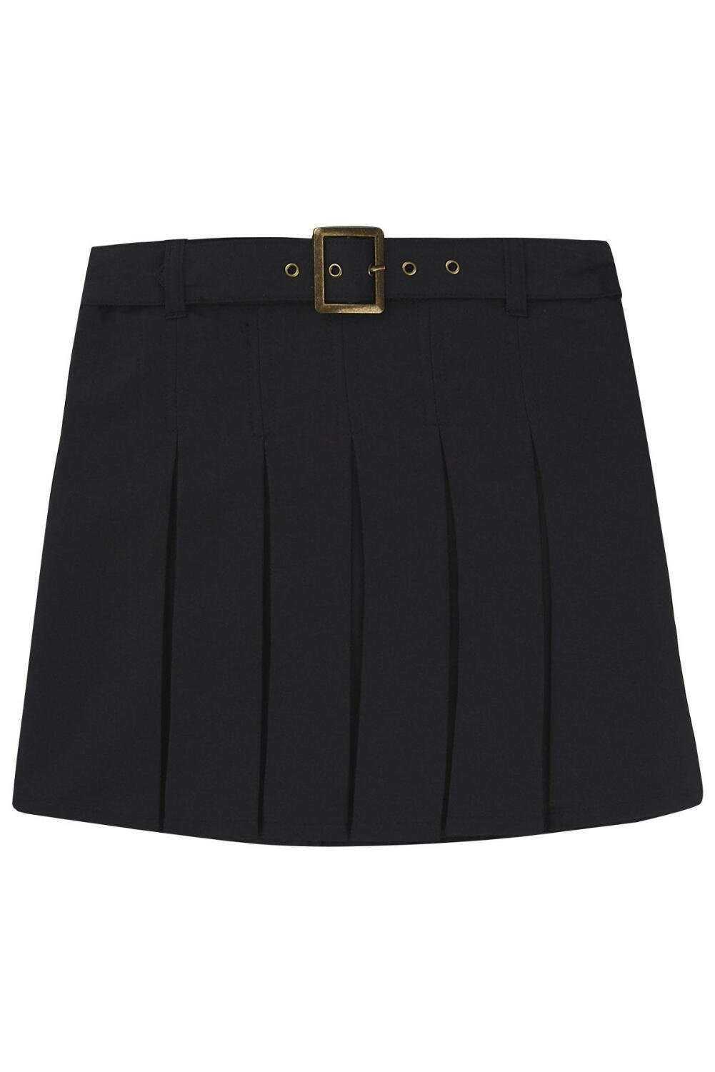 French Toast Girls' Big Belted Pleat Scooter, Black, 16