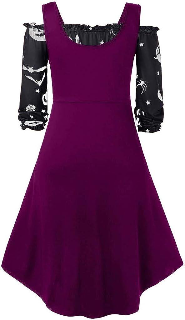 iHAZA Femmes Halloween Robe Grande Taille Multicolore Nouveau Hors De L/épaule Citrouille Imprimer Halloween Vintage Robe avec Gilet 2 Pcs