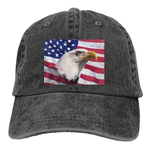 DANDAN SHOP Bald Eagle and American Flag Fashion Print Denim Cotton Adjustable Hat