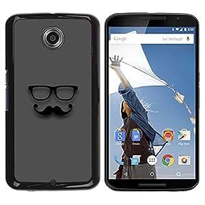 """For NEXUS 6 / X / Moto X Pro Case , Bigote Gafas Sir Gris Hipster"""" - Diseño Patrón Teléfono Caso Cubierta Case Bumper Duro Protección Case Cover Funda"""