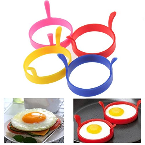 Kemilove 4Pcs Silicone Round Egg Rings Pancake Mold Ring W Handles Nonstick Fried Frying