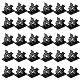 uxcell 30Pcs Self Adhesive Adjustable Wire Cable Tie Sticker Clip Black 1013