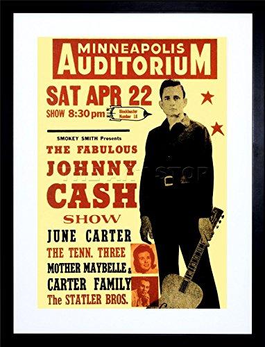 MUSIC CONCERT AD JOHNNY CASH CER MAN BLACK ART FRAME PRINT PICTURE (Concert Art)