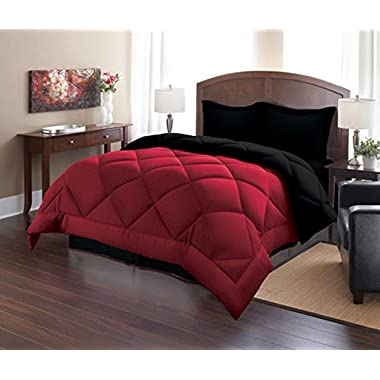 Sweet Home Collection 3 Piece Reversible Polyester Microfiber Goose Down Alternative Comforter Set with Pillow Shams, King, Burgundy/Black