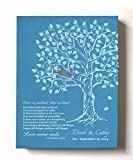 MuralMax Custom Family Tree & Lovebirds, Stretched Canvas Wall Art, Make Your Wedding & Anniversary Gifts Memorable, Unique Decor, Color Teal # 2-30-DAY - Size - 16x20