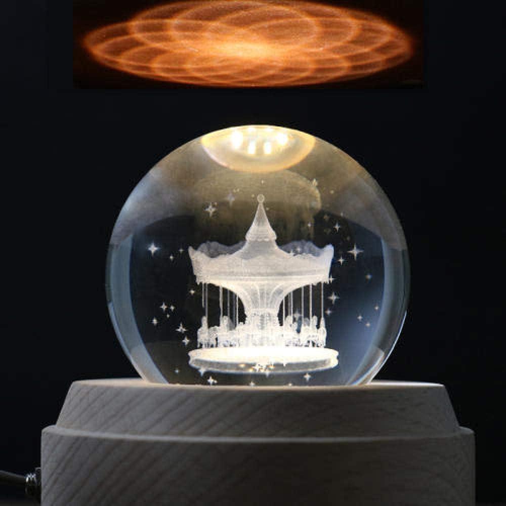 Crystal Ball Music Box Princess Girl Heart Gift-Trojan Crystal Ball Girl Birthday City of the Sky WEI MM Sky City Music Box Carousel Music Box