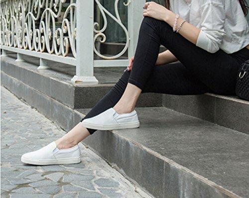 Mocassini Casual Donna Unisex Pianura In Pelle Bianca Slip On Sneaker