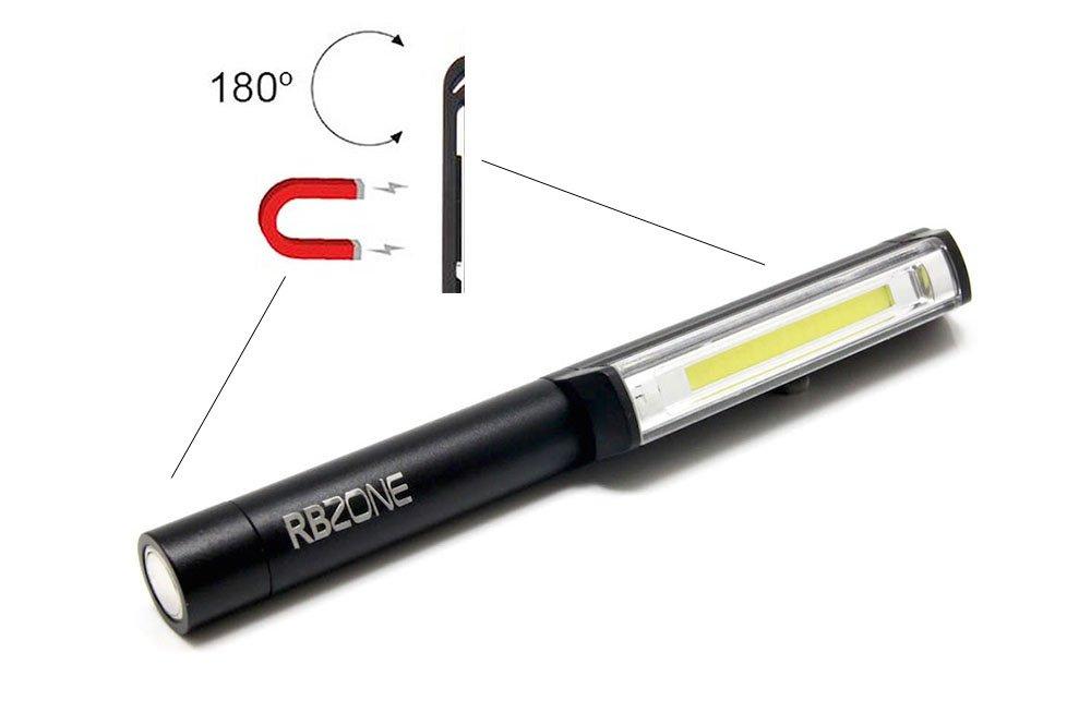 Aluminum Body COB LED Pocket Pen Light Inspection Work Light Flashlight with Rotating Magnetic Clip & Magnet Base Great for Camping Household Workshop Automobile (Alloy Black)