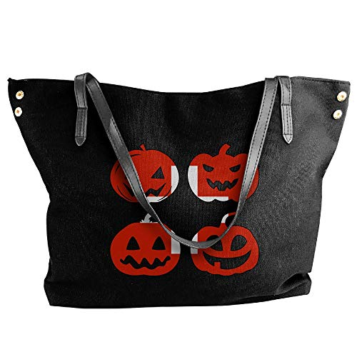 Canvas Switzerland Large Tote Halloween Pumpkin Shoulder Handbag Women's Black Large Head Capacity Bags dq4pwdX