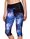 Hoyou Women's Plus Size Fitted High Waist Workout Cropped Pants - Galaxy Print Capri Leggings With Pockets(Blue Space2,L)