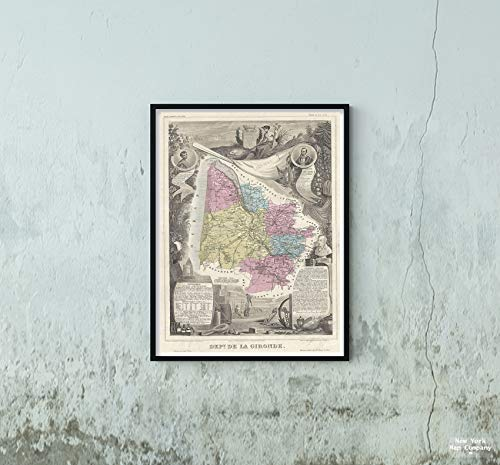 (1861 Levasseur of The Department de la Gironde (Bordeaux Wine Region) Map|Vintage Fine Art Reproduction|Size: 18x24|Ready to Frame)