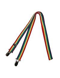CTM Kids' Elastic One Piece Adjustable Rainbow Mitten Clips, Rainbow Stripes