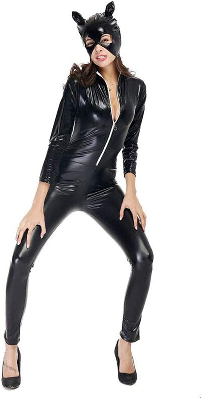 Catsuit Mujer Latex Bodysuit Mono Ropa PU Catwoman Disfraz ...