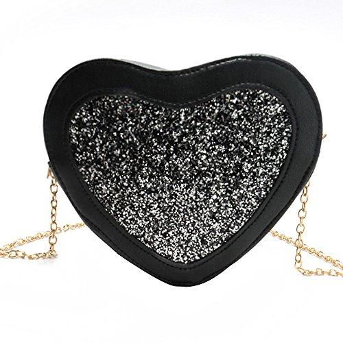 Shoulder Bag,Robemon Handbag Crossbody Messenger Satchel Fashion Casual Women Vintage Heart-Shaped Sequins Black