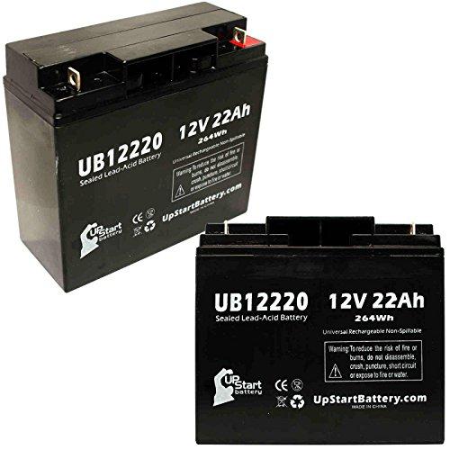 2x Pack - Merits Merits P320 Battery - Replacement UB12220 Universal Sealed Lead Acid Battery (12V, 22Ah, 22000mAh, T4 Terminal, AGM, SLA) by UpStart Battery