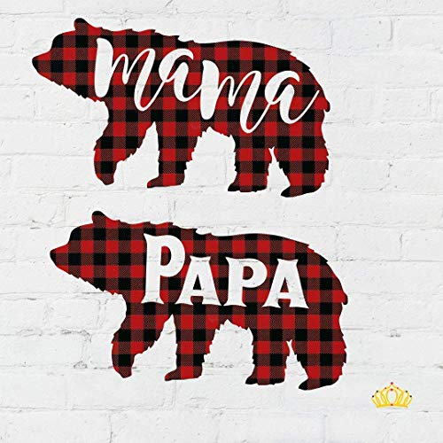 2 pack, Mama Bear and Papa Bear Buffalo Plaid Vinyl Decals, 2 inch x 3.5 inch ()
