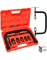 AutoWanderer Tool Solid Valve Spring Compressor Tool Stable C Clamp Tool Service Kit with 10 Pcs & Heavy Sturdy Valve Spring Compressor Fit ATV, Car, Small Engine