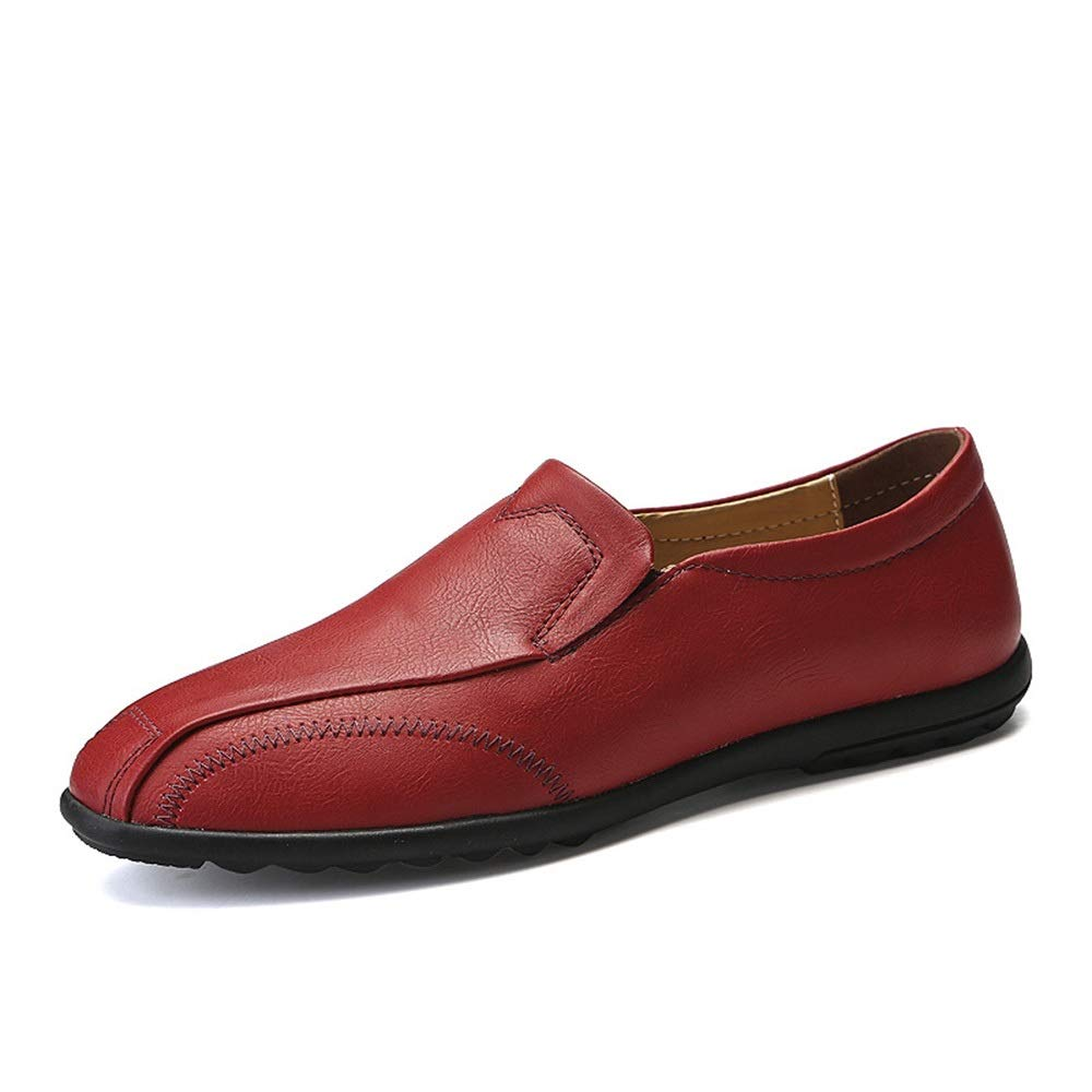 Red Leather shoes Men's Wild Feet Peas shoes Business Driving shoes Men's Casual shoes Cricket shoes (color   Red, Size   42)