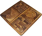 Puzzles Game 4-in-1 Tangram and Pentominoes Set Brain Teasers Puzzle Set Wooden for Kids Adults - 10 Inch