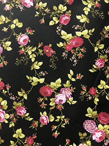 Daffodils Floral Poly Cotton Print Fabric by The Yard (Red/Black)