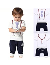 Cute Kids Boy Cotton Tie Belt Print Top T Shirt + Pants 1-5 Years Baby Suit Outfits