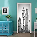 LWCX London Clock Creative Door Sticker To Bedroom Sticker Sticker