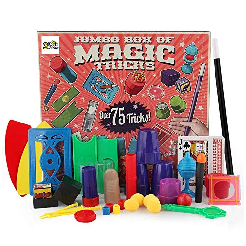 3 Bees & Me Deluxe Magic Kit Set with Toy Wand & 75 Magic Tricks for Beginners - Best Age 6 7 8 9 10 -