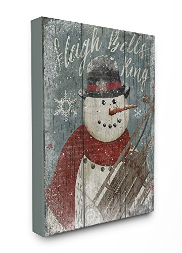 Stupell Home Décor Sleigh Bells Ring Snowman Stretched Canvas Wall Art, 16 x 1.5 x 20, Proudly Made in USA