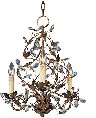 Maxim 2850EG Elegante 3-Light Chandelier Single-Tier Chandelier, Etruscan Gold Finish, Glass, CA Incandescent Incandescent Bulb , 60W Max., Wet Safety Rating, Standard Dimmable, Glass Shade Material, 672 Rated Lumens - Etruscan Gold Finish Chandeliers