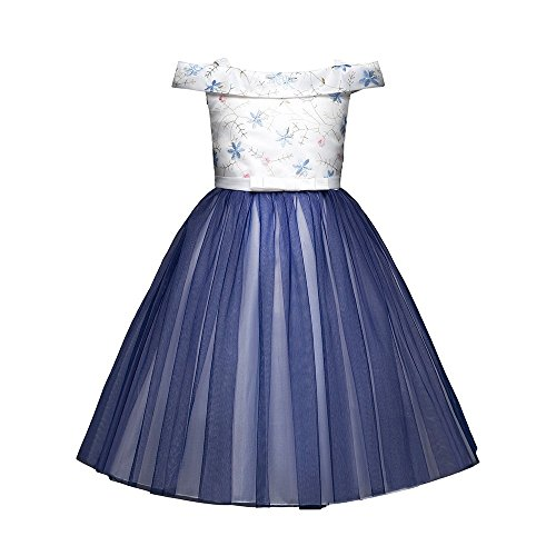Lurryly Girls Off Shoulder Flower Bowknot Princess Formal Tutu Dress Clothes 3-7 T from Lurryly