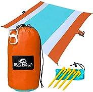 SUN NINJA Sand Free Beach Blanket - Outdoor Blanket, Beach Mat & Accessories - 10ft X 9ft Lightweight Blan
