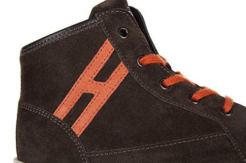 Hogan Rebel scarpe sneakers bimbo bambino alte camoscio nuove r141 marrone
