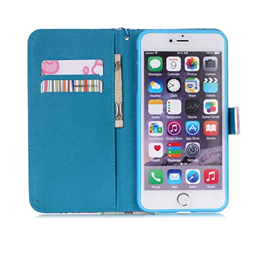 iPhone 6 Plus Hülle Pink,NSSTAR Schutzhülle für iPhone 6 Plus,iPhone 6 Plus Hülle Muster Blume Strap Lanyard Wallet Cover Tasche Bunte Retro PU Leder Flip Case Handytasche Muster Schutz Hüllen im Book