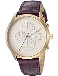 Michael Kors Womens Slater Quartz Stainless Steel and Leather Casual Watch, Color:Purple (Model: MK2687)