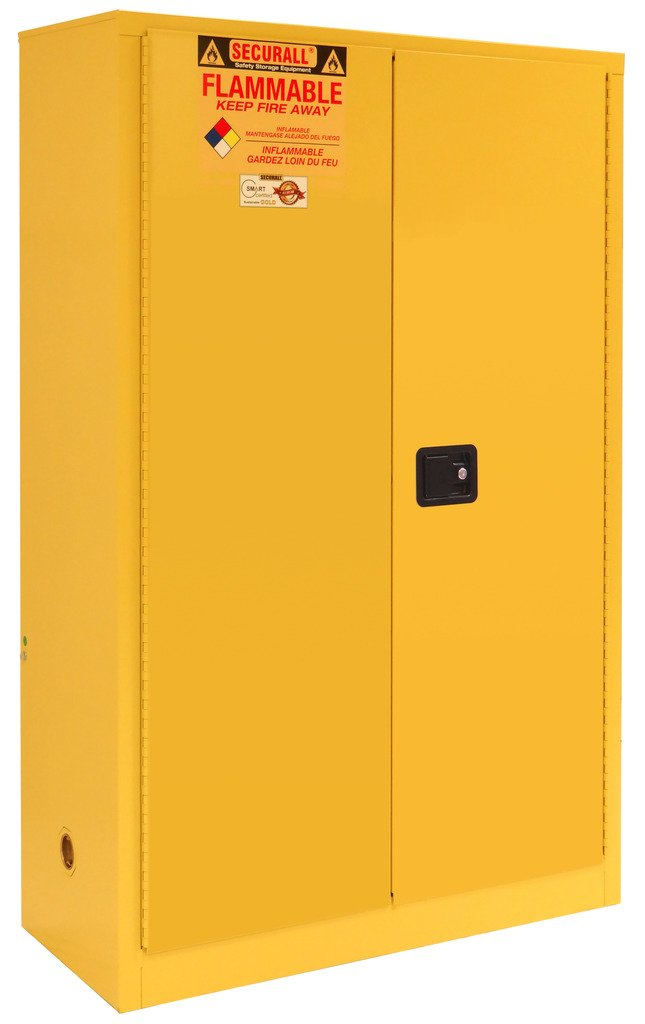 SECURALL A145 Flammable Safety Cabinet, 45 Gallon Cap, 18 Gauge Steel, 65 x 43 18 in, 2-Door, FM Approved, OSHA Comp. 15 YR Warranty - Yellow